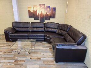 Reversible Brown Leather/Fabric Corner Sofa