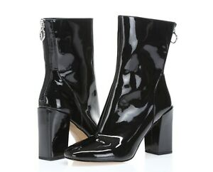 Avec Les Filles Women's Raina black patent leather block heel booties sz. 7.5
