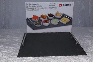 Schiefertablett Serviertablett 30x40cm Alpina mit Edelstahl-Griffen Grau deko