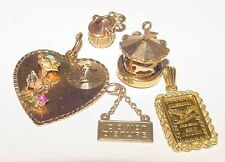 Vintage LOT 14K Gold Charm Moveable Carousel Heart Do Not Disturb 999 One Gram