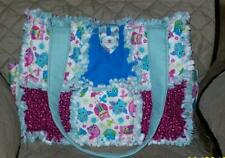 Owls Pink Blue Zigzags Chevron Rag Quilt DiaperBag Bag Tote Purse Handcrafted