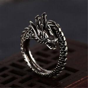 Adjustable Alloy Fashion Open The Dragon Ring for Men Finger Rings