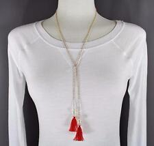 Red Gold tassel fringe pearl lariat necklace thin skinny chain adjustable long