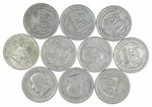 Lot of 10 El Salvador 1953 50 Centavos Silver Coin Lot Rare one Year Issue *443