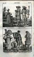 Incisione originale antica costumi popoli Svizzera  I 039