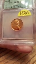 1963 1C Lincoln Cent-ICG PR69 DCAM, some toning #659A