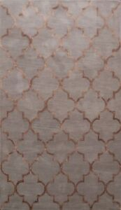 Geometric Trellis Indian Oriental Wool/ Silk Hand-tufted Modern Area Rug 5x8 ft