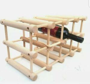 Wooden Free Standing wine rack, 12 Bottles Bar Kitchen Stand, FLAT pack