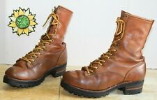Vintage Chippewa Men's Work Logger Boots Brown Leather USA Made. Size 8.5