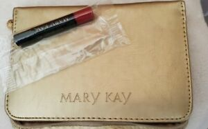 New Mary Kay Gold Beauty Case With Mini Rock N' Red Lip Gloss