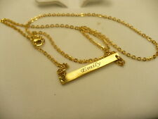 "personalized EMILY name necklace gold colour 22.5"" bar script lettering"