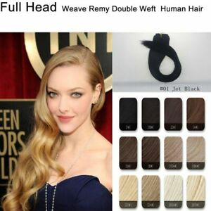 20'' 100G Full Head One Peice Weave Remy Double Weft Real Human Hair Extensions