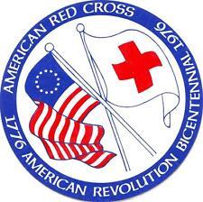 ~ PRESS-ON PATCH~ RED CROSS  AMERICAN BICENTENNIAL   1976~ STICKER~