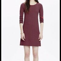 Madewell Sorbonne Sailor Stripe Shift Dress Red Navy Blue Striped Size XS E7152