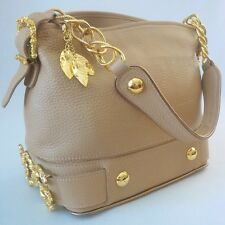 DOLCE   GABBANA PEBBLED LEATHER BAROQUE HANDBAG TAN BEIGE MADE IN ITALY -  XLENT 6d942824db84e