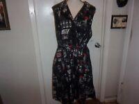 Modcloth Community Brunch Black Dress Paris Ladies Pockets Pleated size M (B109)