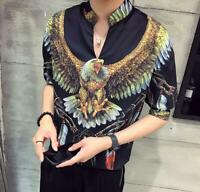 Fashion Korean Mens Printed Slim Fit Short Sleeve Casual Shirt Summer Tops Chic