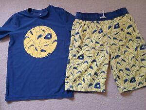 GAP Kids Shark Design Boys Swim Shorts & Sun Protection Swim Top SPF50 Fit 10/11