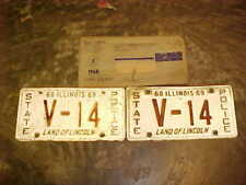 PAIR 1968 1969 Obsolete Illinois State Police license plates plate IL HP Patrol