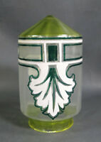 Antique Lime Green&Satin Clear Glass Lamp Light Shade Hand Painted Emerald&White