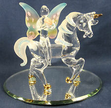 Fairy Riding a Unicorn hand made glass Fantasy Mythical