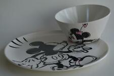 Zak ~ Disney Sketched Mickey Mouse Plate & Minnie Mouse Bowl