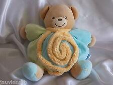 Doudou ours vert, bleu turquoise, spirale, Kaloo