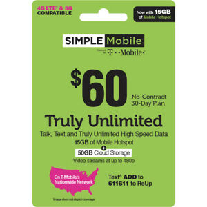 SIMPLE MOBILE  Prepaid $60 UNLIMITED Plan with 15GB HOTSPOT REFILL CARD