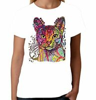 Velocitee Ladies T-Shirt Psychedelic Cat Kitty Feline Pussy Fashion A18489