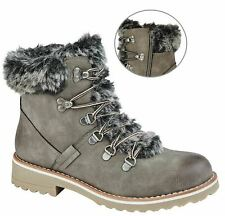 Ladies Womens Memory Foam Faux Fur Collar Inside Zip Ankle Boots Shoes Size