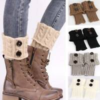 Women Winter Crochet Boot Cuffs Shell Knitted Toppers Boot Socks Leg Warmers