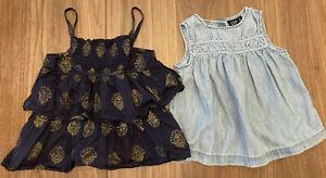 EUC Toddler Girls 5t 2Pc Summer lot Gap Kids Carters sleeveless shirts Chambray