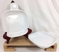 2 Corning Ware P-185-B Grab It Snack Plates Heat & Eat Square Trays Set EX!