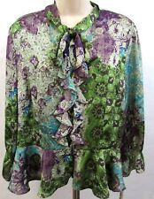 VIOLET & CLAIRE New York Women's Blouse Sz L Purple Green Floral 3/4 Sleeve NWT