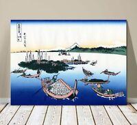 "Beautiful Japanese Horse Art ~ CANVAS PRINT 18x12"" ~ Hiroshige Tsukada Island"