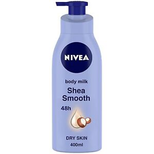 NIVEA Shea Smooth Milk Body Lotion for Dry Skin, Fast Absorb, 400 ml