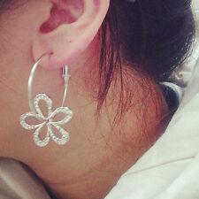 Cute Womans Jewelry Zircon Silver Plated Earrings Flowers Stud Drop Earring Gift