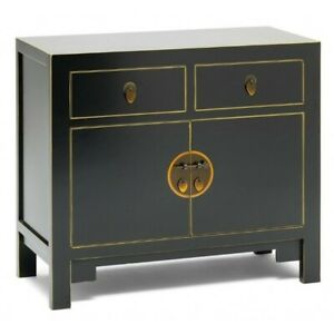 Made to Order Golden Dragon Oriental Painted Solid Wood Black Small Sideboard