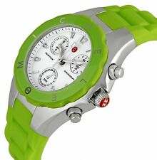 NEW-MICHELE TAHITIAN JELLY BEAN GREEN SILICONE CHRONOGRAPH WATCH-MWW12D000006