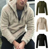 Mens Fluffy Fleece Fur Hooded Pullover Winter Warm Hoodies Jacket Coat Outwear