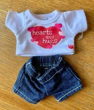 Build-A-Bear Buddies White T-Shirt and Jeans Outfit **EXCELLENT CONDITION**