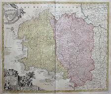 Homann: Orig. altkol. Kupferstich Landkarte Bretagne Frankreich France; 1712