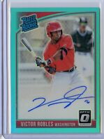 2018 Donruss Optic VICTOR ROBLES On Card Rookie AUTO /99 - Washington Nationals