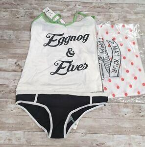 Minkpink Womens Medium Eggnog & Elves Dasher Tank Panties Pajama Set W/ Bag NWT