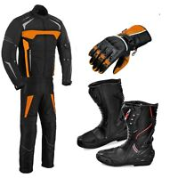 Armored Motorbike Cordura Suit Jacket Trouser Motorcycle Leather Shoes Boots CE