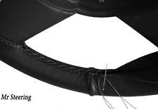 Para Peugeot 307 01-08 Calidad De Cuero Negro volante cubierta Gris Stitch Nuevo