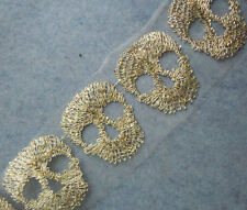 "5.5"" Wide Ivory Tulle Lace with Embroidered Gold Metallic Skull Trim Lace eh0159"