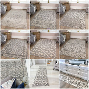 Traditional Large Grey Rugs For Living Room | Moroccan Scandi Style Area Rug NEW