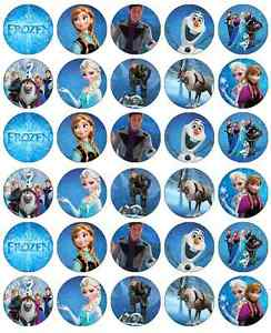 30x Frozen Cupcake Toppers Edible Wafer Paper Fairy Cake Toppers