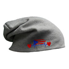 Slouchy Beanie for Men Puerto Rico Flag Lifeline Embroidery Women Skull Cap